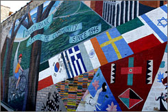 A mural depicting Devon Bank by the parking lot of its Chicago location. The bank has made mortgages compliant with Islam's sharia law in 36 U.S. states.